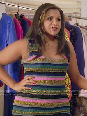 Mindy's metallic striped dress on The Mindy Project