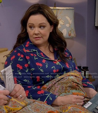 Molly's cherry print pajamas on Mike and Molly