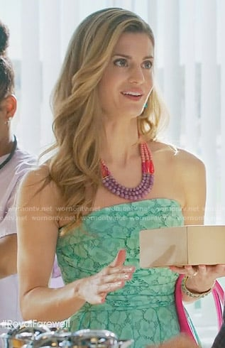 Paige's mint green strapless lace dress on Royal Pains