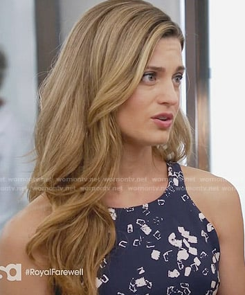 Paige's navy and white printed dress on Royal Pains