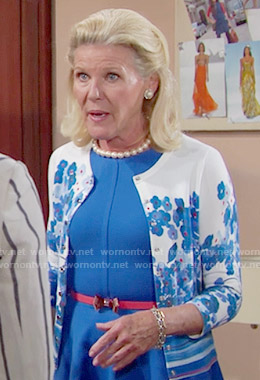 Pam's blue floral cardigan on The Bold and the Beautiful