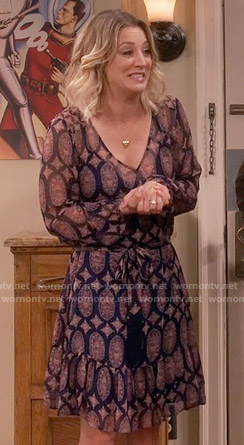 Penny's navy and pink printed long sleeve dress on The Big Bang Theory