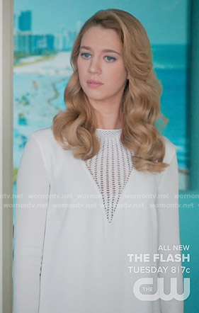 Petra's white dress with triangle lace panel on Jane the Virgin