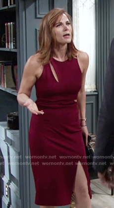 Phyllis's burgundy dress with cutouts on The Young and the Restless