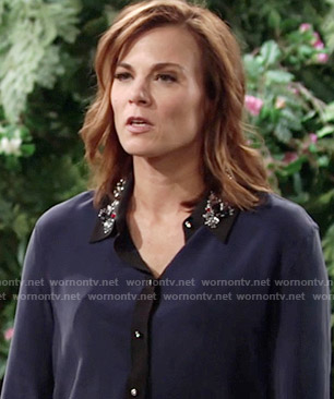 Phyllis's blue shirt with embellished collar on The Young and the Restless