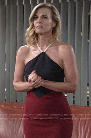 Phyllis's red and navy halterneck dress on The Young and the Restless