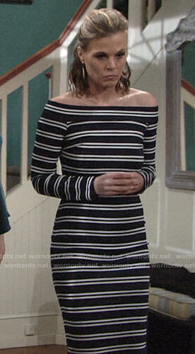 Phyllis's striped off-shoulder dress on The Young and the Restless