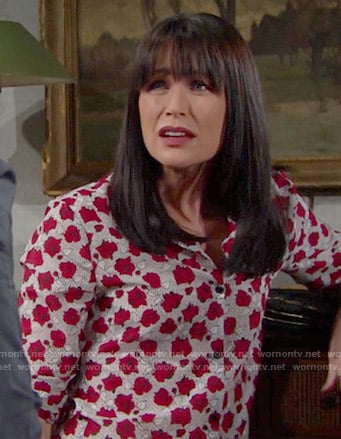 Quinn's red flower print shirt on The Bold and the Beautiful