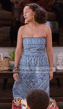 Rainbow's blue and white printed strapless dress on Black-ish