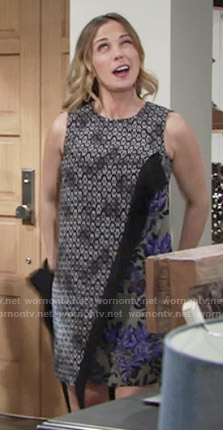 Sage's mixed print dress with fringe trim on The Young and the Restless