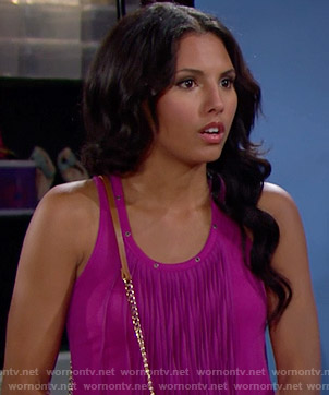 Sasha's pink fringed tank top on The Bold and the Beautiful