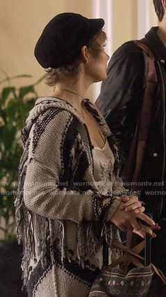 Scarlett's fringed cardigan on Nashville