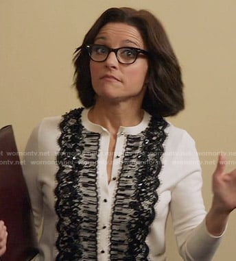 Selina's white cardigan with black lace front on Veep