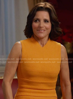 Selina's orange v-neck dress on Veep