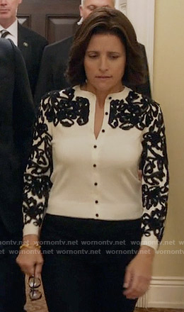 Selina's white cardigan with black embroidery on Veep