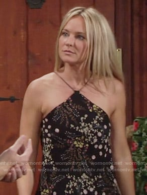 Sharon's black floral halter top on The Young and the Restless