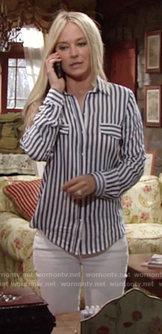 Sharon's blue striped shirt on The Young and the Restless