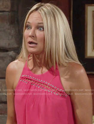 Sharon's coral pink sleeveless slit front top on The Young and the Restless