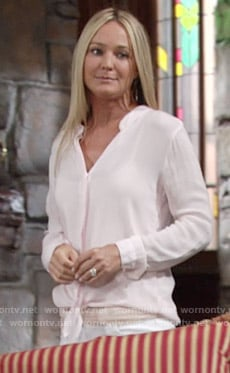 Sharon's pink tie front shirt on The Young and the Restless