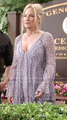 Sharon's purple snake print long sleeved dress on The Young and the Restless