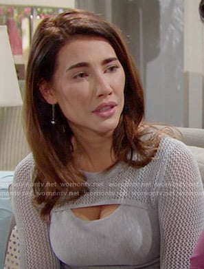 Steffy's grey mesh knit sleeve sweater on The Bold and the Beautiful