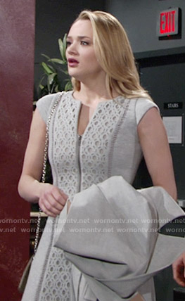 Summer's grey zip-front dress on The Young and the Restless