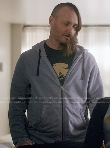 Tandy's ship graphic tee and blue hoodie on Last Man on Earth