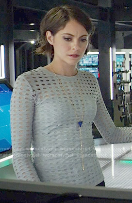 Thea's grey perforated long sleeve top on Arrow