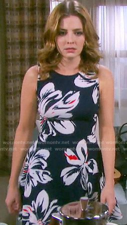 Theresa's navy blue large floral print dress on Days of our Lives