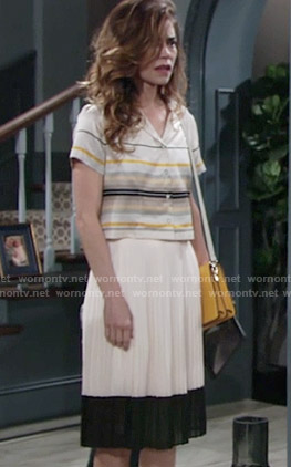 Victoria's yellow striped cropped shirt and pleated skirt on The Young and the Restless