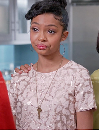 Zoey's pink sequin top on Black-ish