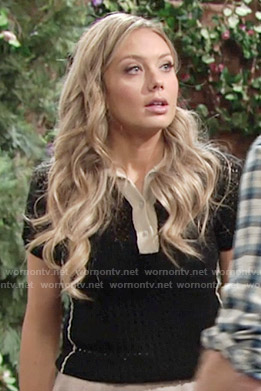 Abby's black knit polo top on The Young and the Restless