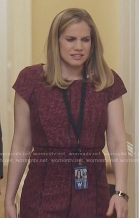 Amy's pink dress with black piping on Veep