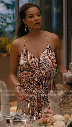 April's printed halterneck dress on Mistresses