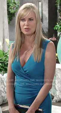 Ashley's blue cross front dress on The Young and the Restless