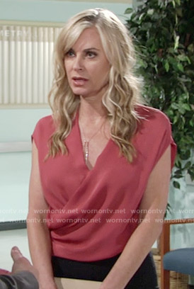 Ashley's red wrap top on The Young and the Restless