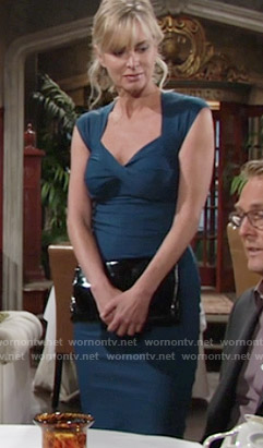 Ashley's teal twist front dress on The Young and the Restless