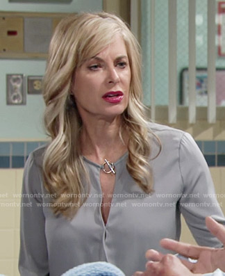 Ashley's grey toggle neck blouse on The Young and the Restless