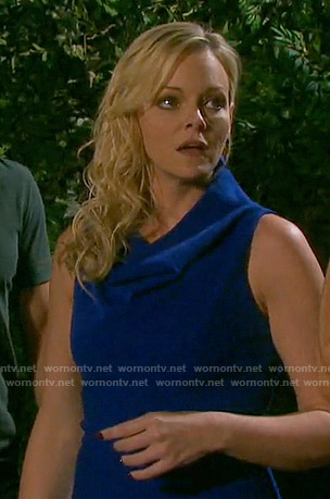 Belle's blue cowl neck dress on Days of our Lives