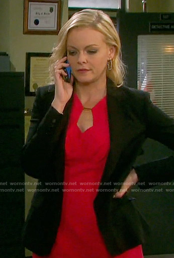 Belle's red keyhole dress on Days of our Lives
