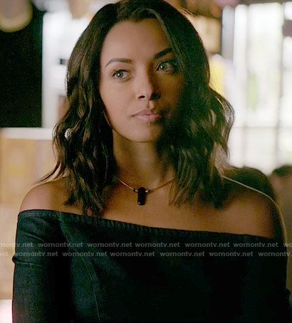 Bonnie's denim off-shoulder dress on The Vampire Diaries