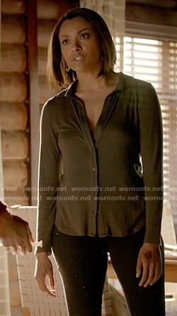 Bonnie's green ribbed button down shirt on The Vampire Diaries