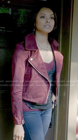 Bonnie's red suede moto jacket on The Vampire Diaries