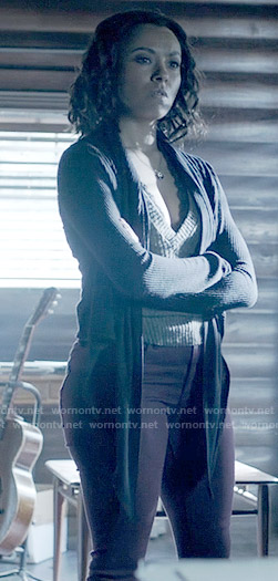 Bonnie's black draped cardigan on The Vampire Diaries