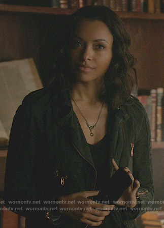 Bonnie's suede jacket with bronze zips on The Vampire Diaries