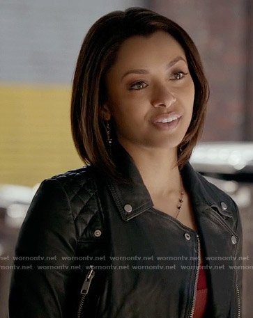 Bonnie's black leather jacket with quilted shoulders on The Vampire Diaries