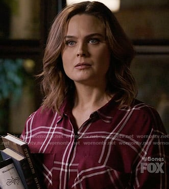 Brennan's burgundy checked shirt on Bones