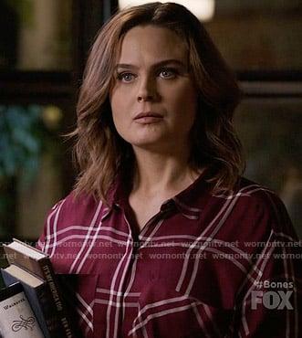 WornOnTV  Brennan s burgundy checked shirt on Bones  b51717bd5
