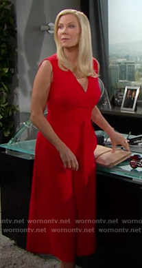Brooke's red culotte jumpsuit on The Bold and the Beautiful