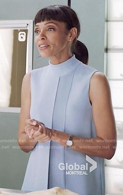 Camille's blue sleeveless turtleneck top on Bones